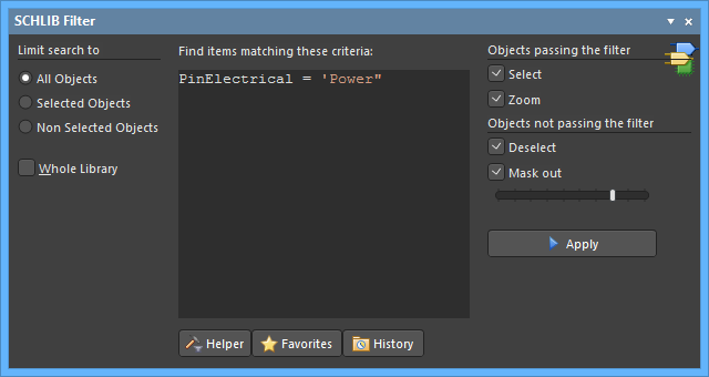 Quickly locate and highlight Schematic Library objects using logical queries in the SCHLIB Filter panel.