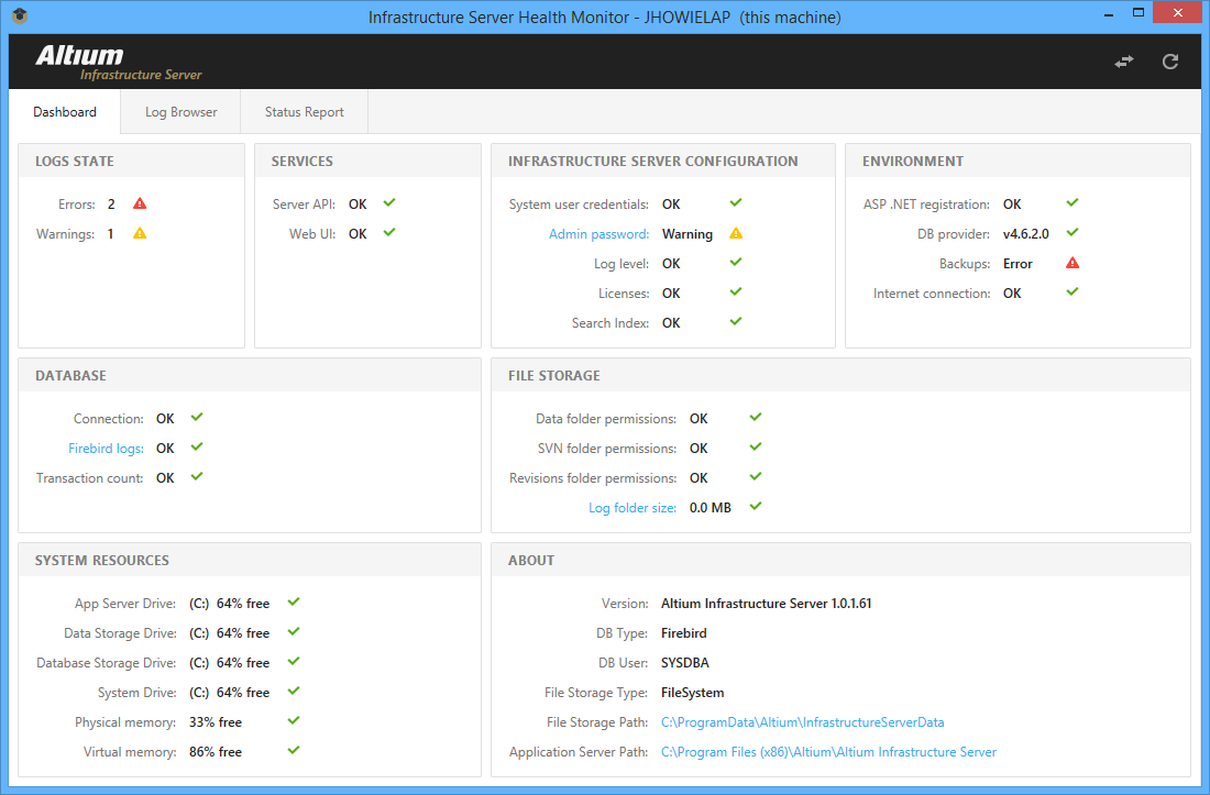 Infrastructure Server Health Monitor | Altium Designer 18 0 User