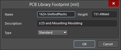 The PCB Library Footprint dialog