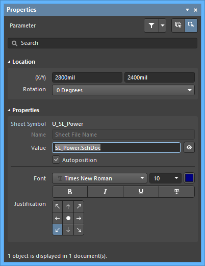 The Sheet Symbol Filenamedefault settings in thePreferences dialog and the Parametermode of the Properties panel