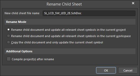 The Rename Child Sheet dialog