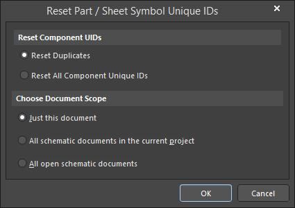 The Reset Part / Sheet Symbol Unique IDs dialog