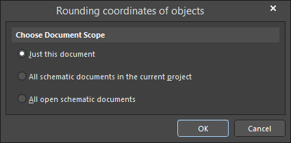 The Rounding coordinates of objects dialog