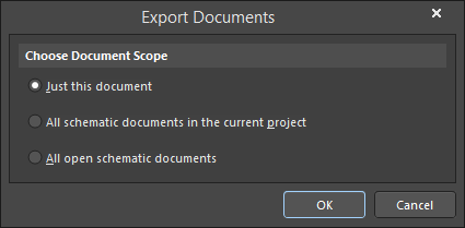 The Export Documents dialog