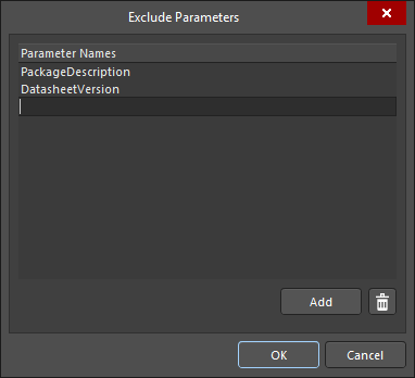 The Exclude Parametersdialog