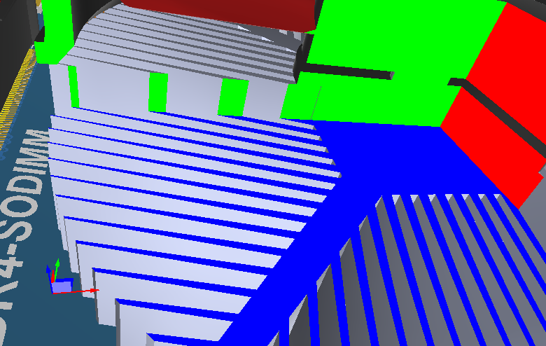 A section of a heatsink, without ambient occlusion applied - hover the cursor over the image to enable ambient occulsion.