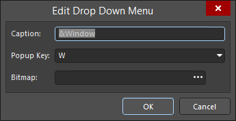 The Edit Drop Down Menu dialog