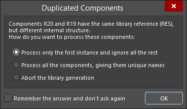 The Duplicated Components dialog