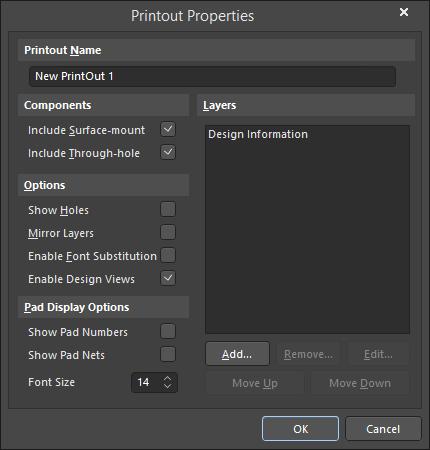 The Printout Properties dialog