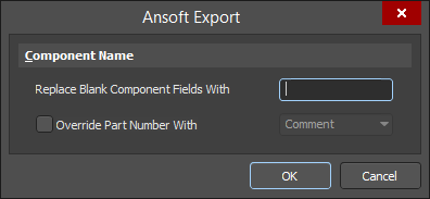 The Ansoft Export dialog