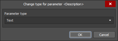 The Change type for parameter dialog