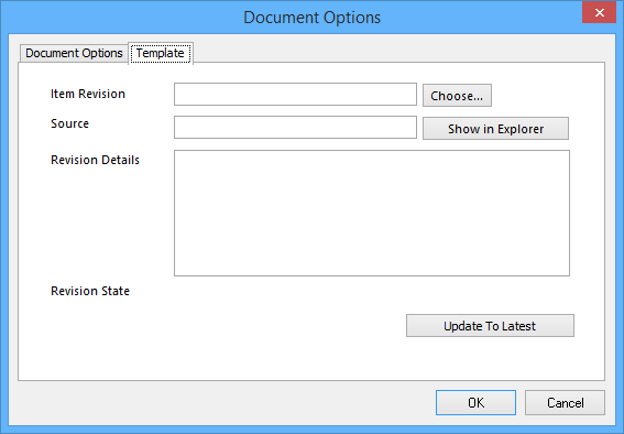 The Template tab of the Document Options dialog