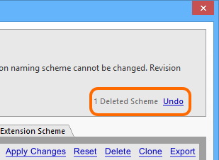 The operation to delete revision naming schemes can be undone.