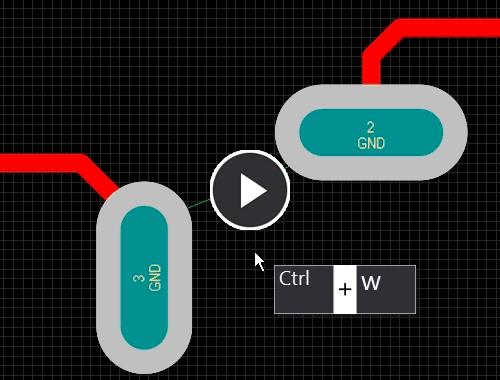 Хотя линия соединяет центры контактных площадок, вы можете проводить трассировку как считаете необходимым.  Модуль анализа цепей непрерывно отслеживает трассировку и обновляет линии соединения.