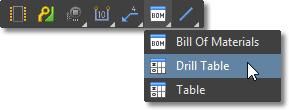 Draftsman Active Bar, BOM / Drill / Table placement menu