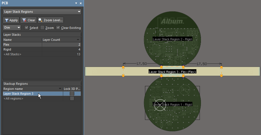 You can manage the assignment of substacks to regions in the Layer Stack Regions mode of the PCB panel.