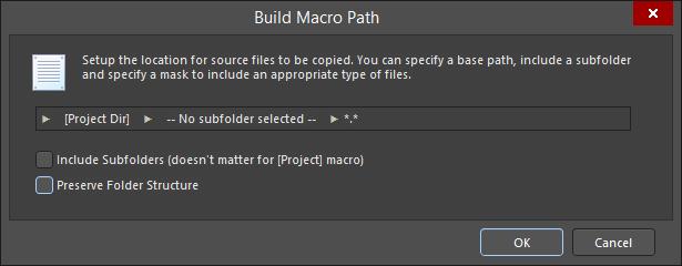 The Build Macro Path dialog