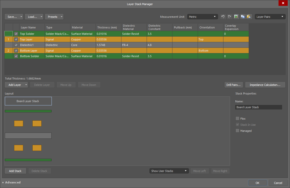 Layer Stack Manager | Altium Designer 18 1 User Manual