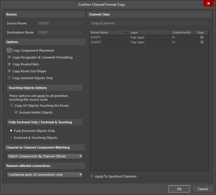 The Confirm Channel Format Copy dialog