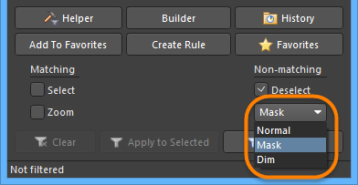 Select the type of visual filtering applied using the masking mode drop-down list.
