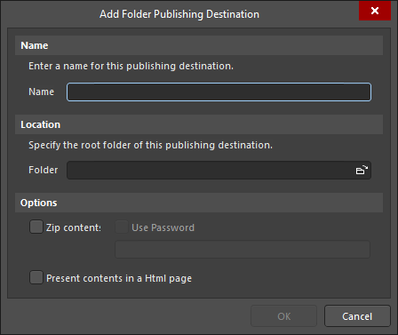 The Add Folder Publishing Destination dialog