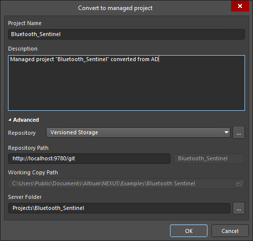 The Convert to managed project dialog