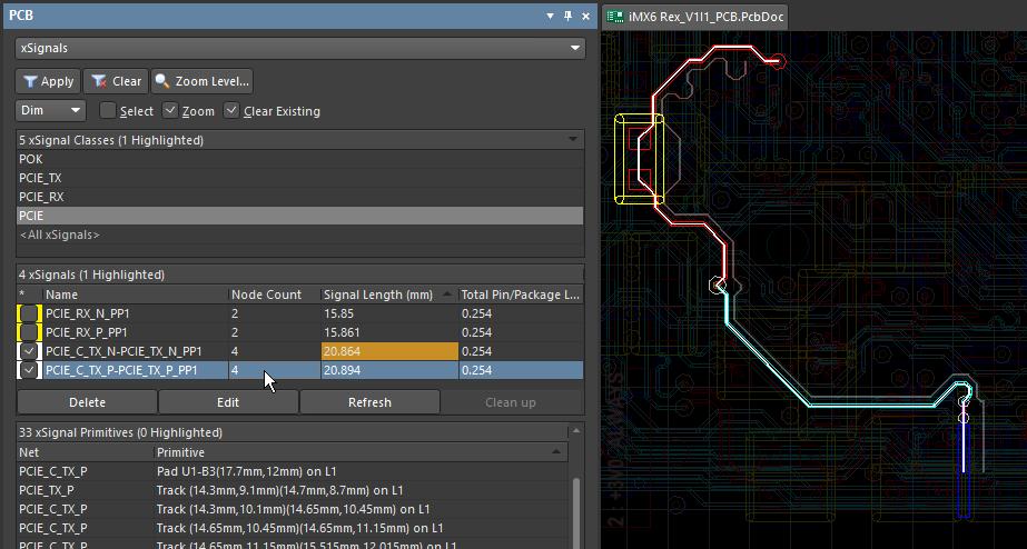 Объекты xSignal отображаются в рабочей области тонкими линиями. Оба объекта xSignal дифференциальной пары видимы, хотя в панели выделен только один из них, так как включен флажок видимости.
