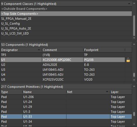 Разделы панели PCB позволяют осуществлять последовательную фильтрацию при выборе классов компонентов, отдельных компонентов и примитивов компонентов.
