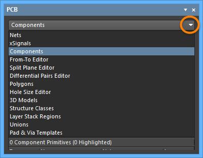 Выберите Components из выпадающего меню.