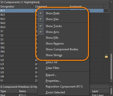 Щелкните ПКМ по компоненту или примитиву компонента, чтобы выбрать объекты, которые необходимо включить.