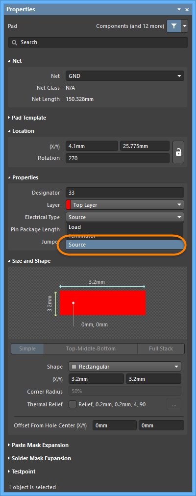 Setting a pad's Electrical Type to Source in the Pad mode of the Properties panel.