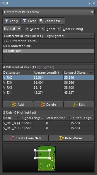 Режим Differential Pairs Editor панели PCB