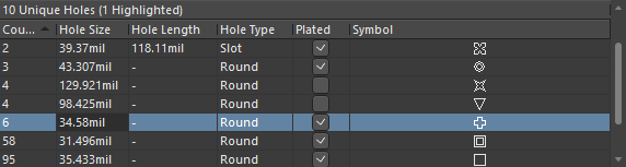 Editing the hole size for the selected group of six matching hole styles.