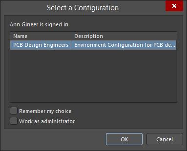 The Select a configuration dialog