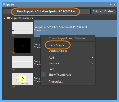 Placing a Snippet from the Snippets panel.