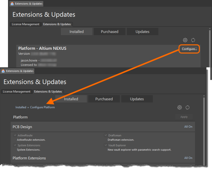 First access the Configure Platform page of the Extensions & Updates view.