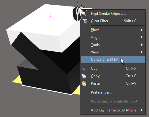 Convert an extruded shape to STEP if you need to rotate it around the X or Y axes.