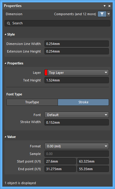 The Standard Dimensiondefault settings in thePreferences dialog and the Dimensionmode of the Properties panel