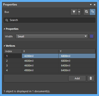 Настройки по умолчанию объекта Bus в диалоговом окне Preferences и режим Bus панели Properties
