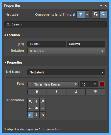 Настройки по умолчанию объекта Net Label в диалоговом окне Preferences и режим Net Label панели Properties