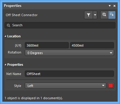 Настройки по умолчанию объекта Off Sheet Connector в диалоговом окне Preferences и режим Off Sheet Connector панели Properties