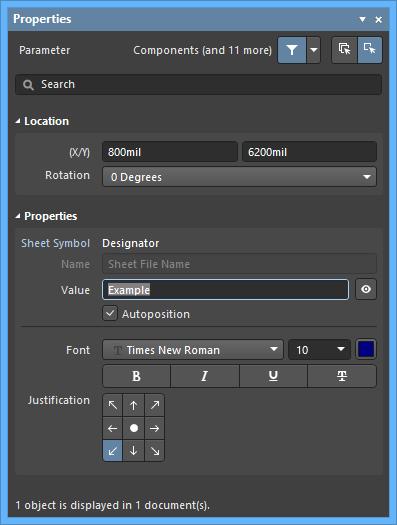 Настройки по умолчанию объекта Parameter в диалоговом окне Preferences и режим Parameter панели Properties