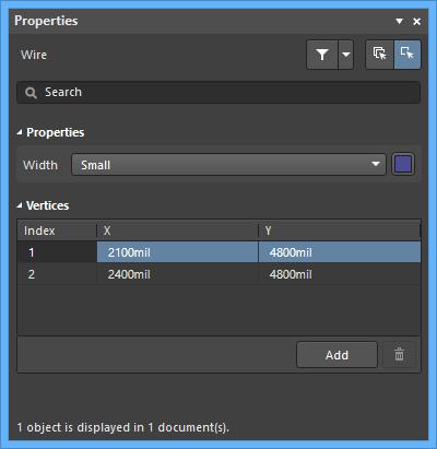 Настройки по умолчанию объекта Wire в диалоговом окне Preferences и режим Wire панели Properties