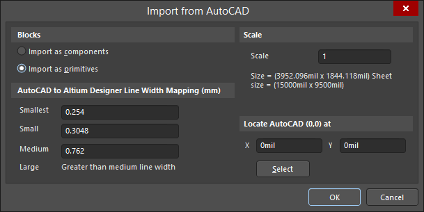 The Import from AutoCAD(SCH) dialog