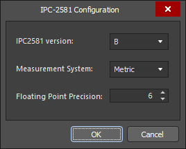 Define export settings in the IPC-2581 Configuration dialog.