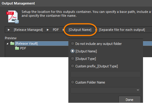 Options to define filename and optional sub-folder.