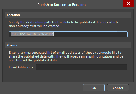 The Publish to Box dialog.