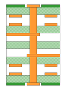 The via is used to connect between the two internal layers, resulting in unused barrel (stubs) above and below.  These stubs can be removed using controlled depth drilling.