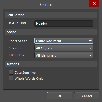 Find text dialog