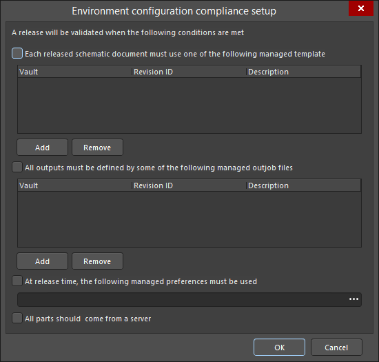 The Environment configuration compliance setupdialog